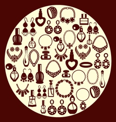 set of Jewelry and perfume Icons silhouette vector image