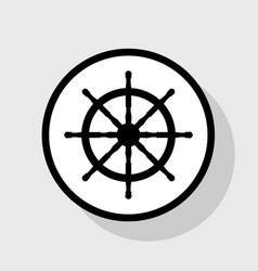 ship wheel sign flat black icon in white vector image