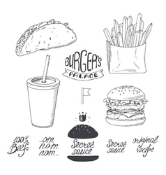 Sketched fast food set in black and white Hand vector image