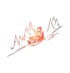 Sled winter mountains activity sport concept vector