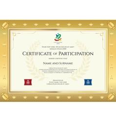 Sport theme certificate participation template vector