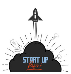 startup project concept flat design missile and vector image
