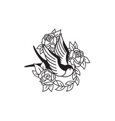 swallow and roses tattoo template traditional vector image