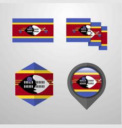 Swaziland flag design set vector