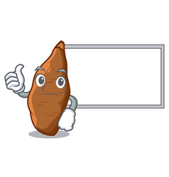 Thumbs up with board character cassava in the vector