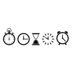 time on clock icons timer hour in sand watch vector image