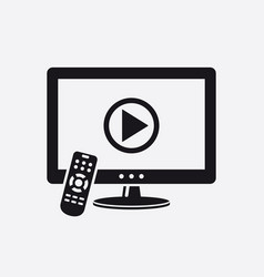 tv with remote control and play button on screen vector image