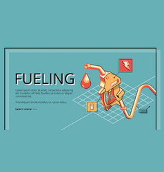 vehicle fueling station isometric website vector image