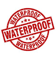 Waterproof round red grunge stamp vector