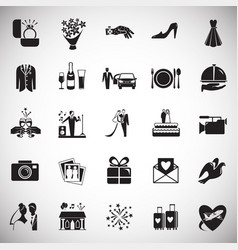 wedding icons set on white background for graphic vector image