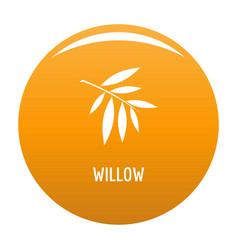 Willow leaf icon orange vector