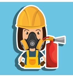 Woman mask extinguisher icon vector
