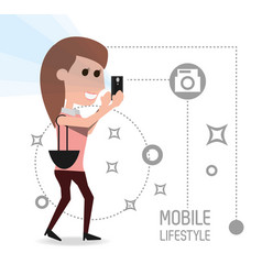Woman with smartphone in the hand and vector