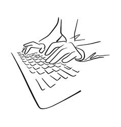 hand using keyboard of computer vector image