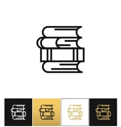 Linear books stack for study and library vector image