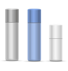 White and silver Bottles of aerosol spray metal vector image vector image