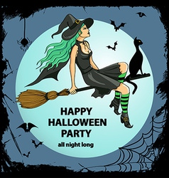 Beautiful witch sitting on the broom vector image