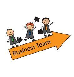 Cartoon business team on an arrow vector image