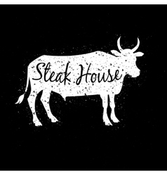 Grunge scratched white cow silhouette with text vector