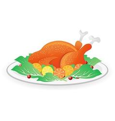 roasted turkey on dish vector image