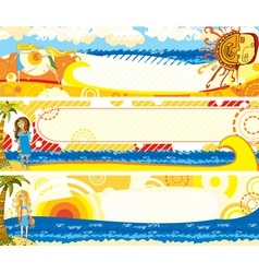 summer banners set girl vector image vector image