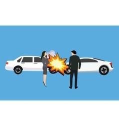 car crash accident collision man woman standing vector image