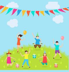 children have fun party amusement park active vector image