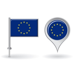 European Union pin icon and map pointer flag vector image