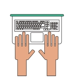 hands and laptop icon vector image