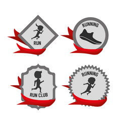 Silhouette set icon related with running and vector