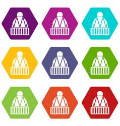 winter hat icon set color hexahedron vector image vector image