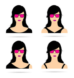Woman head with sunglasses set sensual vector