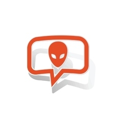 Alien message sticker orange vector image