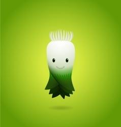 Baby Green Leek Cartoon Character vector image vector image