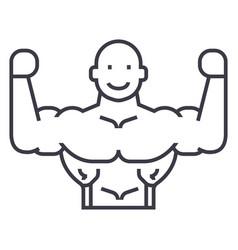 bodybuilder line icon sign vector image