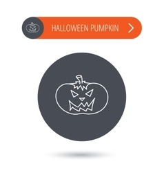 Halloween pumpkin icon Scary smile sign vector image