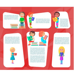 reading children sitting and standing with books vector image