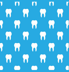 seamless pattern white teeth on blue background vector image vector image
