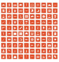 100 war crimes icons set grunge orange vector
