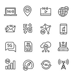5g internet connection linear icons set vector image