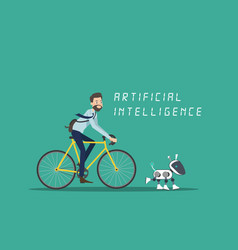 A man cycling with dog robot design vector
