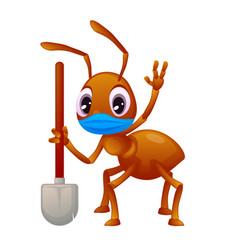 An ant holding a shovel is wearing a face mask vector