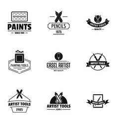 Artist tool logo set simple style vector