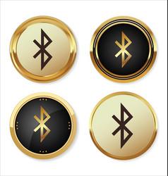 bluetooth golden icon vector image