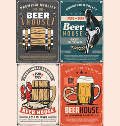 brewery beer house retro posters mug and barrel vector image