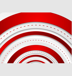 bright red tech circles geometric background vector image