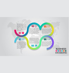 business infographics timeline 6 options vector image