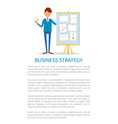 Business strategy poster businessman at seminar vector