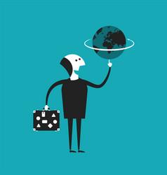 Businessman or traveler holding globe in hand vector