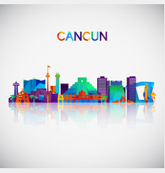 Cancun skyline silhouette in colorful geometric vector